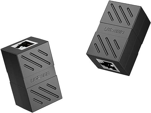 UGREEN RJ45 Coupler 2 Pack in Line Coupler Cat7 Cat6 Cat5e Ethernet Cable Extender Adapter Female to Female Black