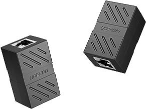 UGREEN Adaptador RJ45 Hembra a Hembra, Conector RJ45 Hembra a Hembra Acoplador RJ45 para Gigabit Ethernet 1000Mbps Cable de Red Cat 7 Cat 6 Cat 5, 2 Unidades (Negro)