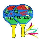 Kidnefn Juego de Bola de Paleta de Paleta de Playa al Aire Libre y Pelota Juego de Bola de Raqueta de Madera