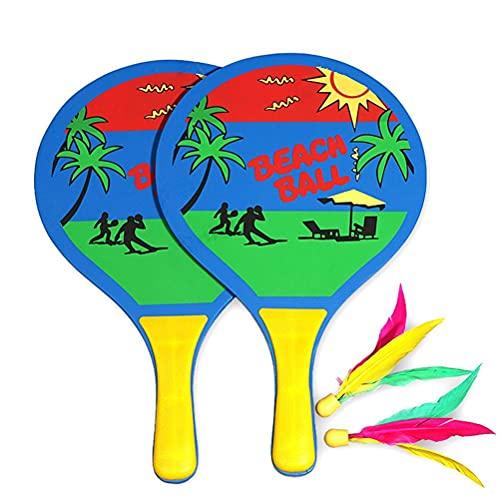 Osuner Raqueta de Madera, Palo de Paleta de Playa al Aire Libre y Juego de Pelota para niños y Adultos Juguete de jardín de Playa