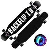 QUNHU Longboard, patineta de Longboard de 41 Pulgadas de monopatín a través de la Cubierta de Arce de 8 Capas, Crucero de monopatín Completo, Tallado de monopatín Completo (Color : R)