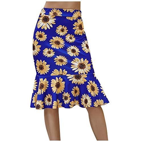 Womens Mini Dresses, Fashion Women Floral Fishtail Skirt Summer Lady Leisure High Waist Beach Skirt for Holiday
