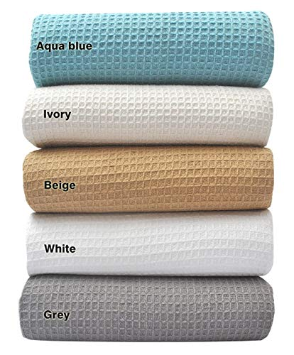 Tex Trend 100% Cotton Blankets King Size, White Color - Soft Premium Right Weight Breathable Cotton Thermal Blankets Waffle Weave Design - Provides Comfort and Warmth for Years