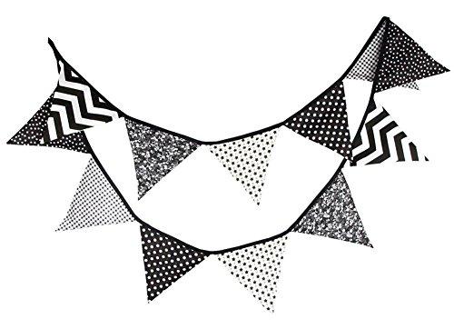 Demarkt - Guirnalda de banderines triangulares con banderines y banderines para fiestas, color negro y blanco
