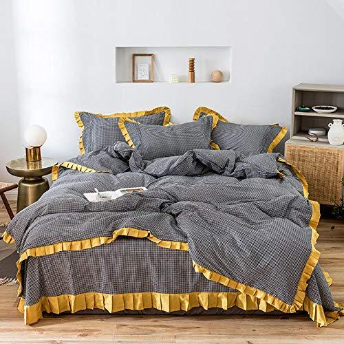 4-delige beddengoedset van katoen, voor bed met 1,8 m breedte, zacht en ademend, plissé, lichtgrijs