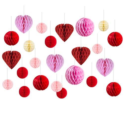Mariage Decoration Salle Coeur Rouge Rose Creme Boule Papier de Soie Suspension Fiancaille Deco Chambre Fille Saint Valentin - 24pcs