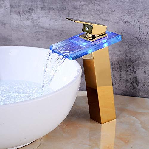 Grifo monomando para baño con LED de cascada, color dorado