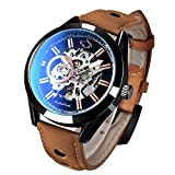 Mens Brown Automatic Watch, Mechanical Leather Watches for Men, Cool Business Dress Watches for Men, Skeleton Steampunk Waterproof Watch with Blue Light