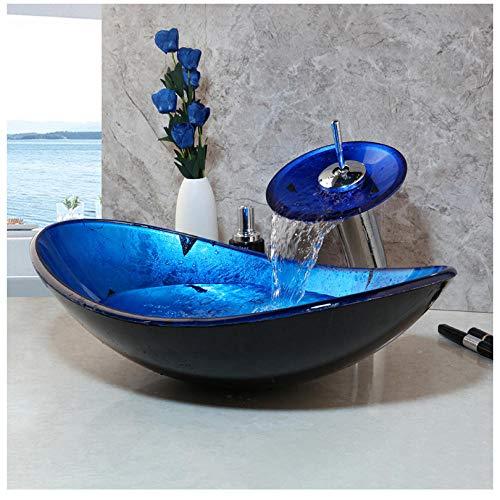 Zybnb Lavabo da Bagno Blu Lavabo da appoggio in Vetro temperato con lavabo Set di rubinetti in Ottone Rubinetto a Cascata Bagno Vaso da toeletta