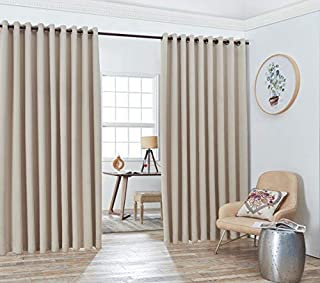 Nicole - 2 Wall-to-Wall Blackout Grommet Curtains Panels with Tiebacks - Total Size 216 Inch Wide (108 Each Panel) - 99 Inch Long - Solid Thermal Insulated (2 Panels Wall-to-Wall 108 x 99, Ivory)