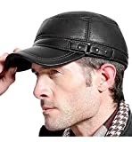 Sumolux Men Leather Cap Mens Hat with Earflap Military Cadet Army Style Leather Hats Flat Top Hat Adjustable for Outdoor Winter Black