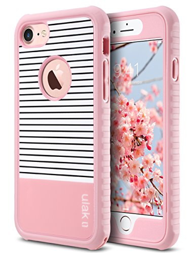 ULAK iPhone 8 & 7 Case, Shock-Absorbing Flexible Durability TPU Bumper Case, Durable Anti-Slip,Front and Back Hard PC Defensive Protection Cover for Apple iPhone 7 4.7 inch, Rose Gold Stripes Minimal