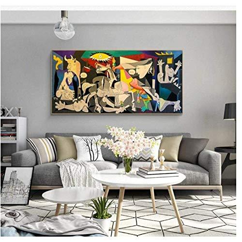 HHLSS Cuadros de Pared 70x140cm sin Marco Guernica de Picasso Famosos Carteles e Impresiones Picasso Canvas Wall Art Pictures Sala de Estar Decoración del hogar
