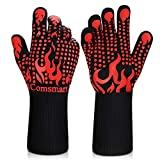 BBQ Gloves, 1472°F Heat Resistant Grilling Gloves Silicone Non-Slip Oven Gloves Long Kitchen