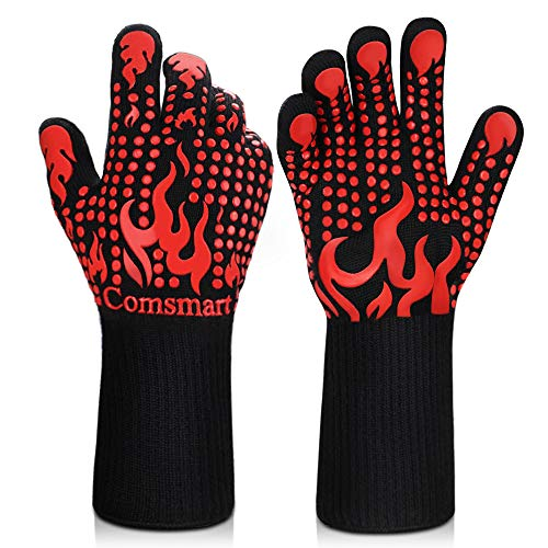 BBQ Gloves, 1472°F Heat Resistant Grilling Gloves Silicone Non-Slip Oven Gloves Long Kitchen Gloves...
