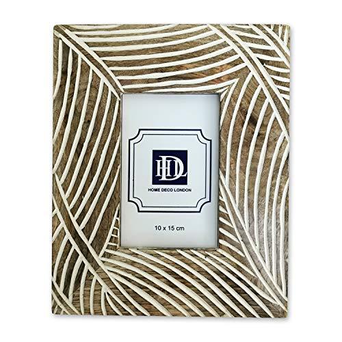 Home Deco London Bilderrahmen, Palmenblatt-Design, natürliches Mangoholz, 10 x 15 cm, Weiß