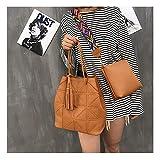 lianlian Shoulder Bags Bolso Crossbody 2 en 1 Ocasional de la PU del Hombro señoras de Bolso del Mensajero del Bolso de la Borla (Negro) (Color : Amarillo)