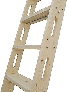 "DIYHD 87"" Knotty Pine Wood Sliding Library Ladder Rolling Ladder"