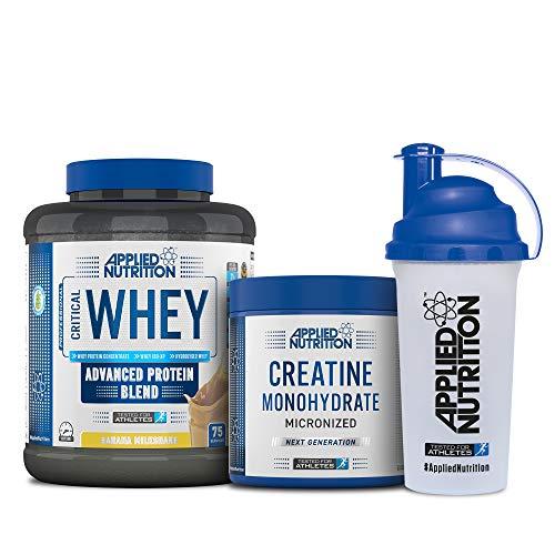 Applied Nutrition Bundle Critical Whey Protein Powder 2.27kg + Creatine Monohydrate 250g + 700ml Shaker   Gold Standard Muscle Building with Glutamine, Amino Acids, BCAA (Banana Milkshake)