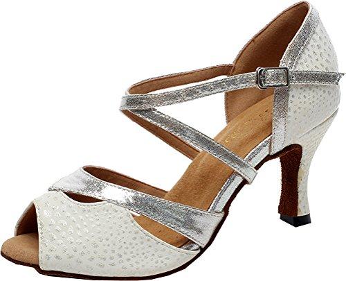 Damen Latin Professional Tanzschuhe Acorss Body Straps Mid-Heel Peep Toe, Silber - silber - Größe: 40.5 EU