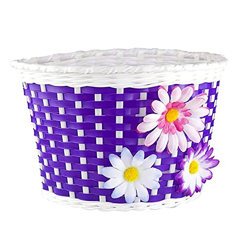 Farway 1PC Kid s Girl s Bike Bicycle Basket Front Decoration with 3 Pretty Flowers (8.7 x 5.9 x 5.9 inch)