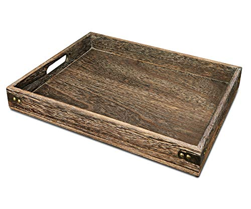 Sufandly Large Wooden Tray with Handles, Rectangle Serving Tray 16.9 x 12.9 Inch Wood Color…