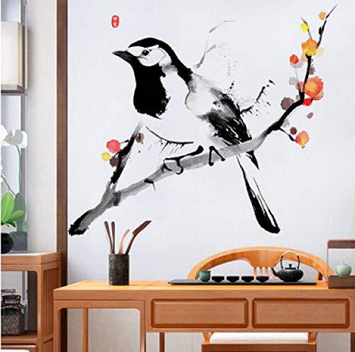 Jkxiansheng Stile Cinese 78X82Cm Uccello Sul Ramo Adesivo Murale In Vinile Albero Genealogico Soggiorno Camera Da Letto Decorazione Della Casa Poster Vintage