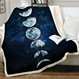 Sleepwish Lunar Eclipse Blanket Moon Phases Blanket Celestial Fleece Blanket Dark Blue Sherpa Throw Blanket College Dorm Blanket (50'x 60')