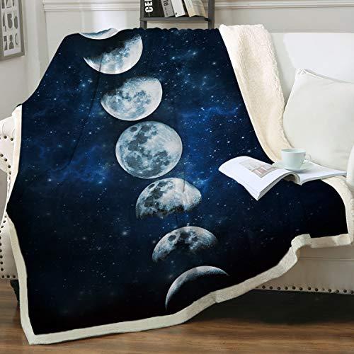 Sleepwish Lunar Eclipse Blanket Moon Phases Blanket Celestial Fleece...