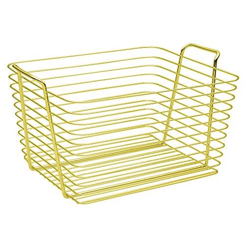 InterDesign Classico Cesta de almacenaje, cesto de Alambre de Metal Grande, Caja con Asas para Accesorios de baño y Juguetes, Dorado