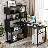 Tribesigns Rotating Computer Desk with 5 Shelves Bookshelf, Modern L-Shaped Corner Desk with Storage, Reversible Office Desk Study Table Writing Desk on Wheels for Home Office (Black)