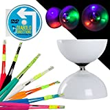 LED Big Top Teniendo Diabolo Set con colores Superglass de fibra de incienso & Diabolo direcciones Instrucción DVD. Stick Color a elegir. Pilas incluidas, Green Sticks
