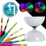 LED Big Top Kugellager Diabolo Set mit Farbigem SUPERGLASS Faser