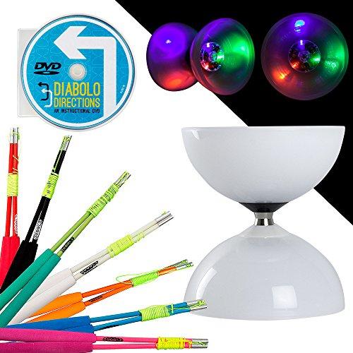LED Big Top Kugellager Diabolo Set mit farbigem SUPERGLASS Faser Sticks & Diabolo Richtungen Anleitung DVD. Select Stick Farbe. inklusive Batterien, Green Sticks