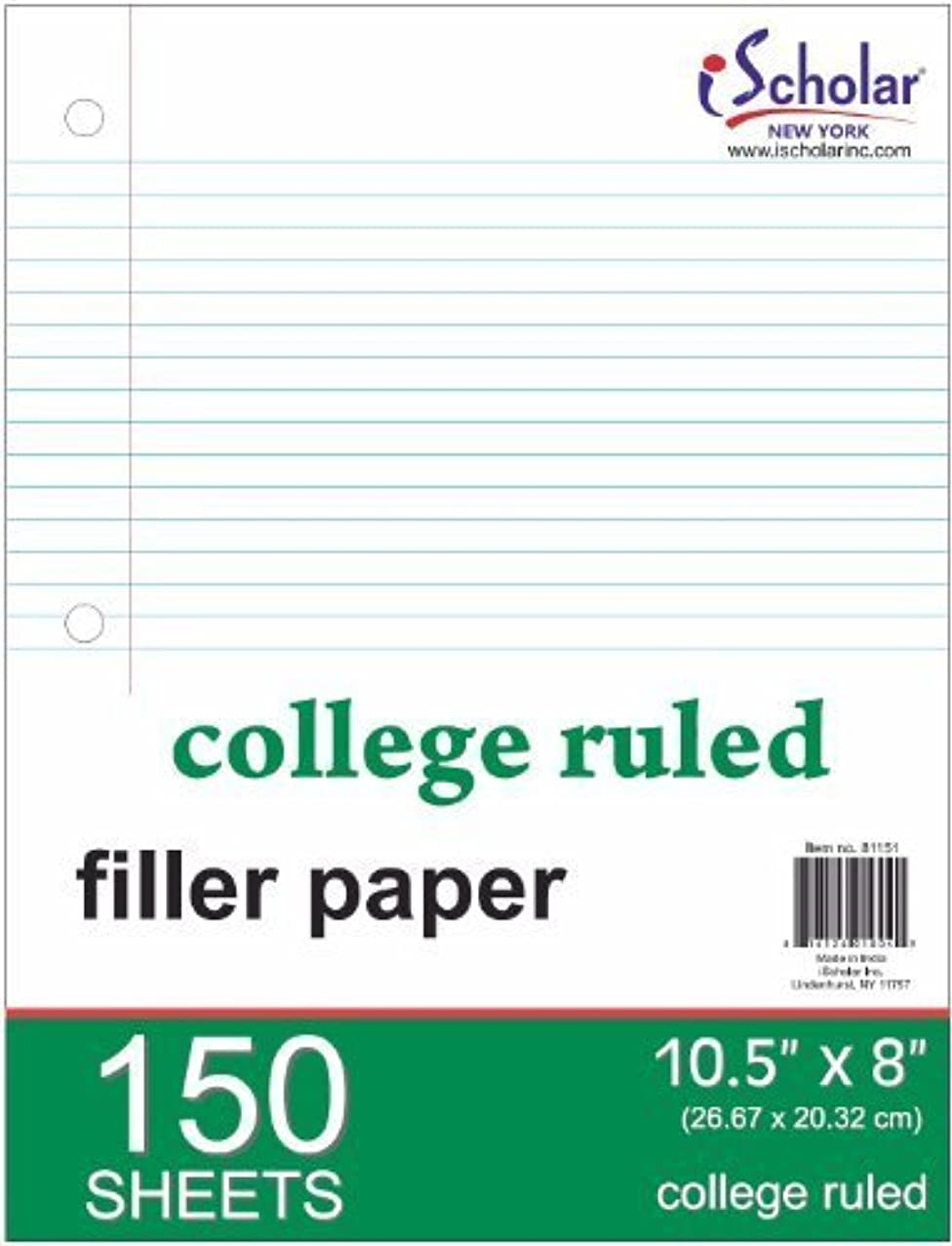 iScholar College Ruled Filler Paper, White, 10 x 8.5-Inches, 150 Sheets per Pack (81151) by Ischolar Inc.