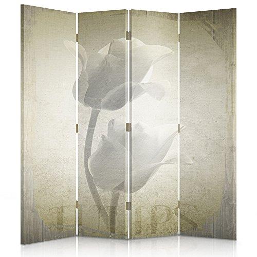 Feeby Frames. Raumteiler, Gedruckten auf Canvas, Leinwand Wandschirme, dekorative Trennwand, Paravent beidseitig, 4 teilig (145x180 cm), Blumen, TULPE, Natur, Vintage, BRAUN
