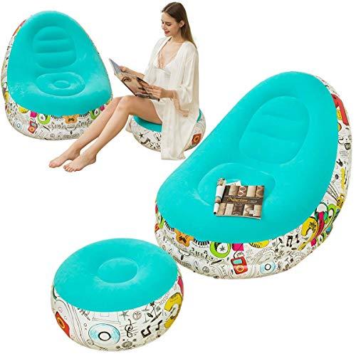 Aufblasbares Lazy Sofa, Family Lounge Chair mit aufblasbarem Fußkissen, Graffiti Pattern Flocking Outdoor Klappsofa, geeignet für Heim- oder Bürorest (grün)