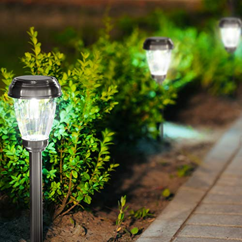 Set of 6 LED Solar Pathway Lights, Low Voltage, Wireless Solar Path Lights for Lawns, Gardens, Yards and More, Stainless Steel Pathway Lights to Brighten and Enhance The Look of Any Outdoor Space