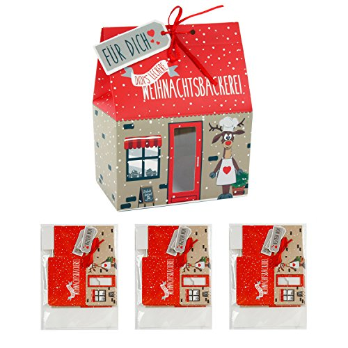 3 x 4er-Set Kekshaus Keksschachtel, Pralinenschachtel Kekstüte Geschenktüte Geschenkbeutel Verpackung Weihnachten