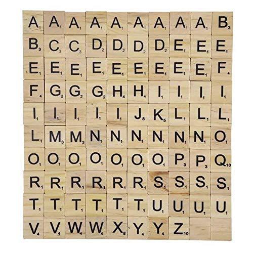 Jurenay Neues Modell für Spielzeugspiele Hölzerne Alphabet Scrabble Fliesen, Scrabble Buchstaben Zahlen Handwerk (100 Stück) Für jeden geeignet