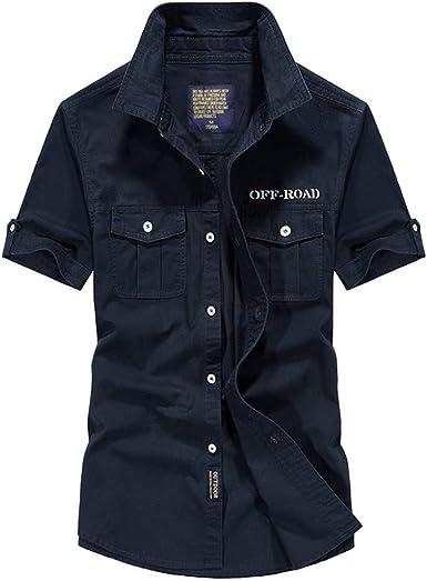 Camisa para Hombre Moda Hermosa Camisa Militar de Manga Corta para Hombre Camisas Casual para Hombre Chaquetas para Hombre Chaquetas de Traje para ...