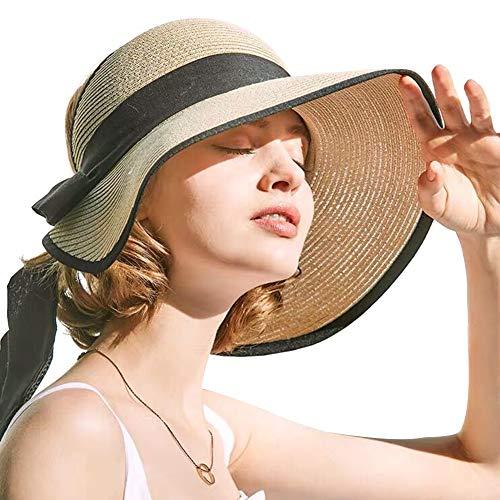 Comhats Protección UV plegable flexible de ala ancha (paja de cloche de Panamá) Sombrero de playa, accesorios de crucero ajustables de moda para Mujeres [Beige] [Grande 59CM]