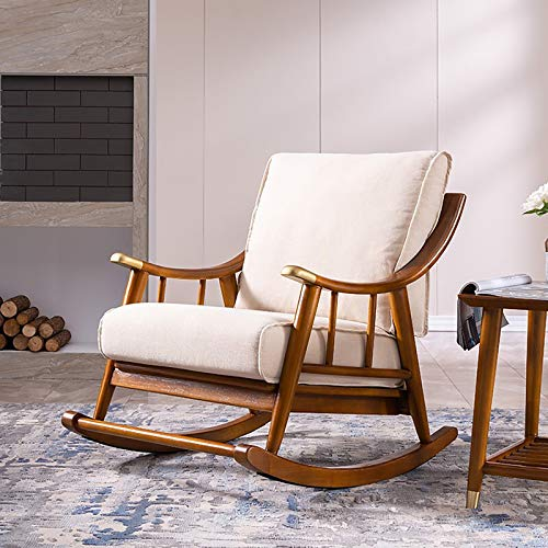 ATTDDP Balcony Rocking Chairlounge Chair - Solid Wood Rocking Chair, Sofa Chair, Recliner, Home European Style Leisure Chair,B