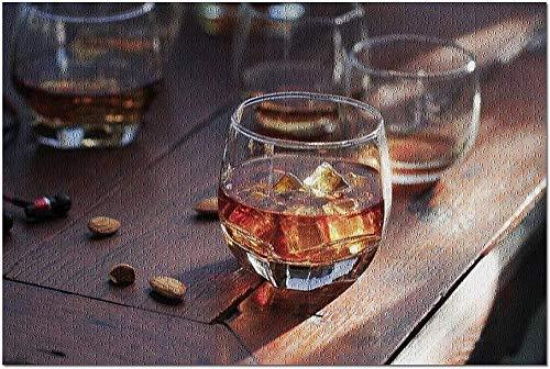ACCYT HD Whisky Bourbon in einem Glas mit EIS auf Holztisch Hintergrund 9013812 (19x27 Premium 1000 Stück Puzzle Made in USA!)