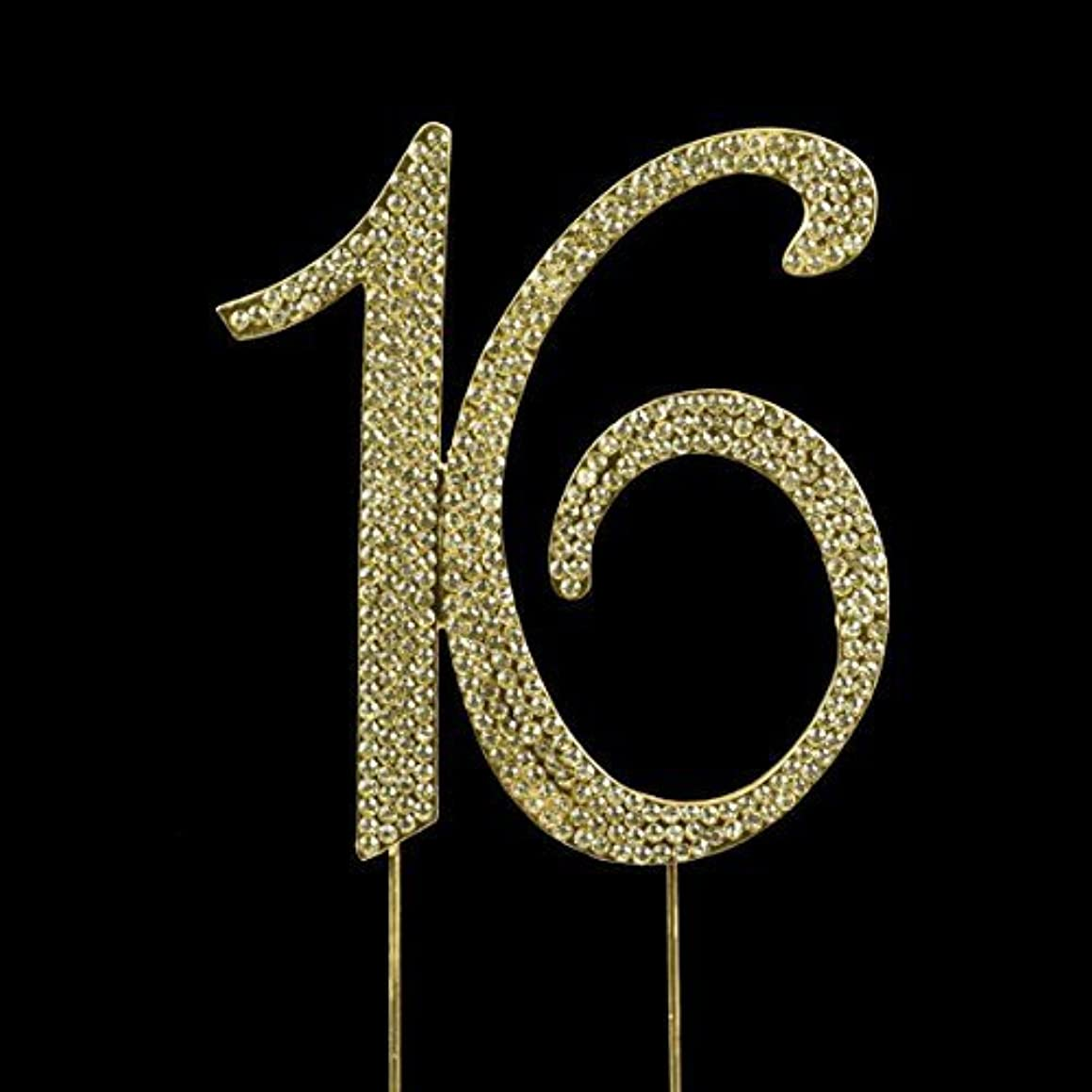 Sweet 16 Birthday Number Cake Topper Sparkling Rhinestones with Gold by onlinepartycenter