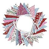 Rubyu 10m Wimpeln Wiederverwendbare und Wetterfeste Partygirlande, Banner für Geburtstag, Baumwolltuch Wimpelkette Bunt (36 Fahnen)