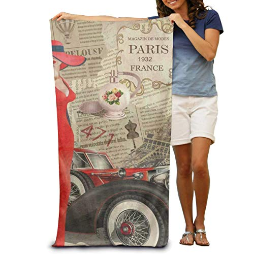 FERNMXZ Super Soft Badetuch Vintage Paris Ferrari schnell trocknend Strandtuch Reisedecke Schwimmen Spa Handtuch Große Größe 80 cm x 130 cm