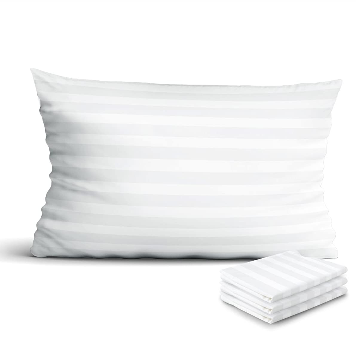 IDEALHOUSE Zippered Pillow Protectors 4-Pack,100% Egyptian Cotton Pillow Cases 300 Thread Count Soft Sateen Pillow Covers 20 x 30 inch(Queen)