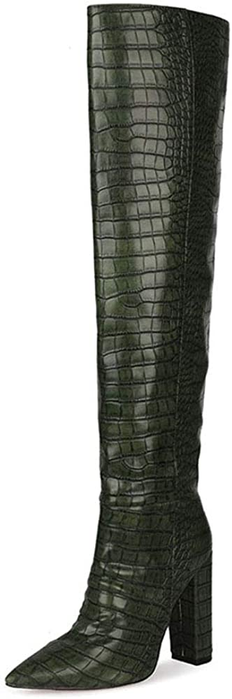 Boots for Women Knee High Boots Crocodile Texture Chunky Heel Booties Pointed Toe Long Boot Pull-on Shoe