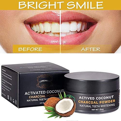 Blanqueamiento dental,Carbon Activado Dientes,Polvo Dientes, Blanqueador De Dientes ingredientes activos de coco,Blanqueador seguro para goma sensible
